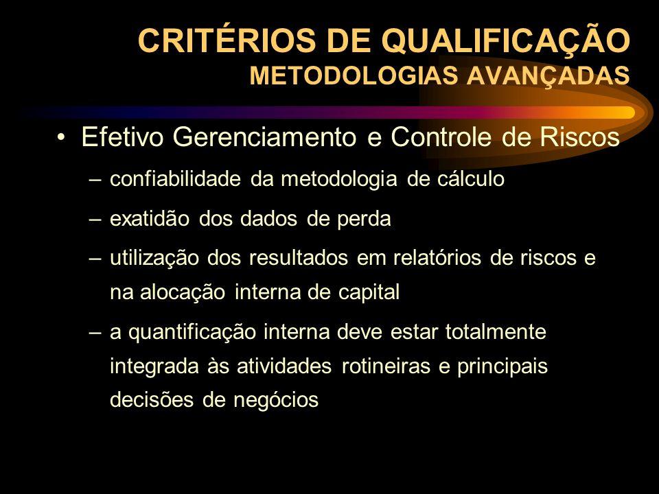 Efetivo Gerenciamento e Controle de Riscos –confiabilidade da metodologia de cálculo –exatidão dos dados de perda –utilização dos resultados em relató