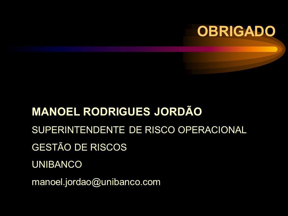 OBRIGADO MANOEL RODRIGUES JORDÃO SUPERINTENDENTE DE RISCO OPERACIONAL GESTÃO DE RISCOS UNIBANCO manoel.jordao@unibanco.com