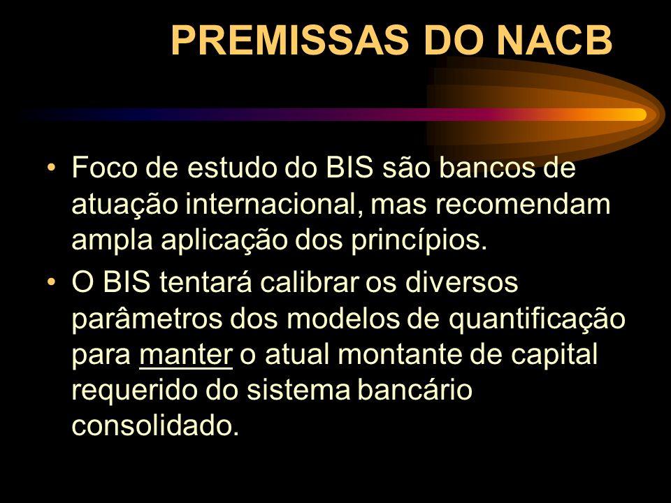 PREMISSAS DO NACB Foco de estudo do BIS são bancos de atuação internacional, mas recomendam ampla aplicação dos princípios. O BIS tentará calibrar os