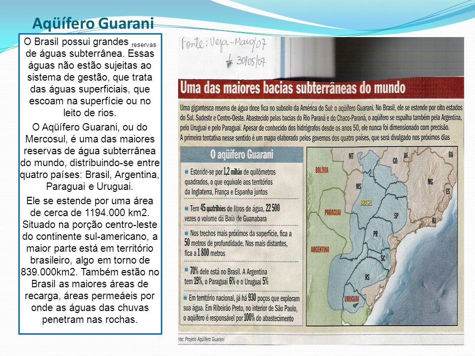 Aqüífero Guarani O Brasil possui grandes reservas de águas subterrânea.