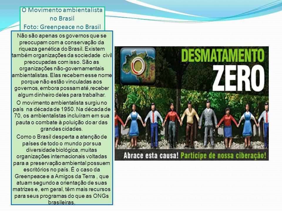 O Movimento ambientalista no Brasil Foto: Greenpeace no Brasil Não são apenas os governos que se preocupam com a conservação da riqueza genética do Brasil.