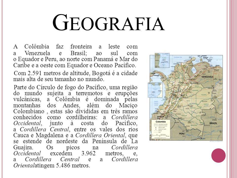 G EOGRAFIA A Colômbia faz fronteira a leste com a Venezuela e Brasil; ao sul com o Equador e Peru, ao norte com Panamá e Mar do Caribe e a oeste com E
