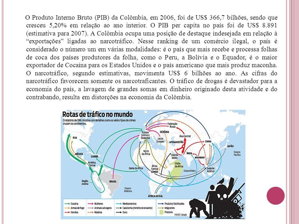 O Produto Interno Bruto (PIB) da Colômbia, em 2006, foi de US$ 366,7 bilhões, sendo que cresceu 5,20% em relação ao ano interior. O PIB per capita no