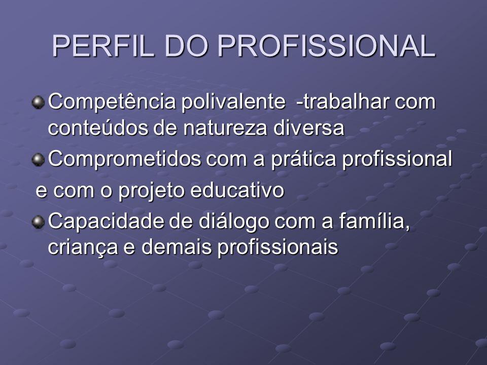PERFIL DO PROFISSIONAL Competência polivalente -trabalhar com conteúdos de natureza diversa Comprometidos com a prática profissional e com o projeto educativo e com o projeto educativo Capacidade de diálogo com a família, criança e demais profissionais