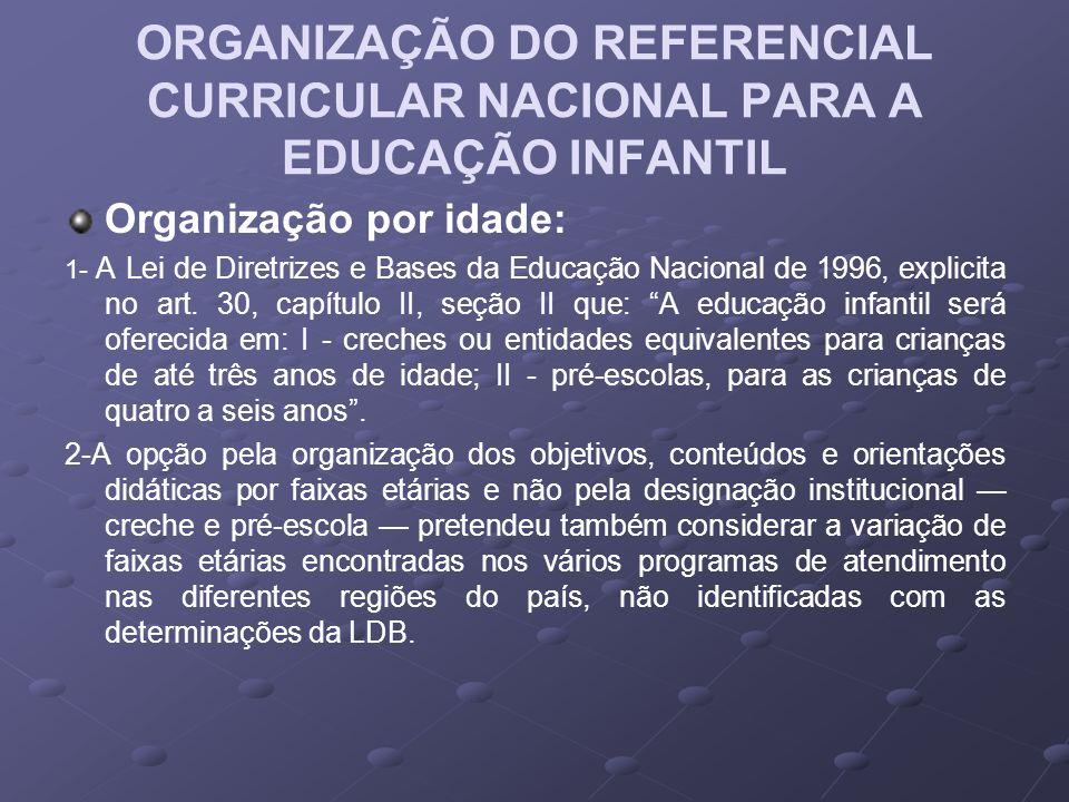 ORGANIZAÇÃO DO REFERENCIAL CURRICULAR NACIONAL PARA A EDUCAÇÃO INFANTIL Organização por idade: 1- A Lei de Diretrizes e Bases da Educação Nacional de 1996, explicita no art.