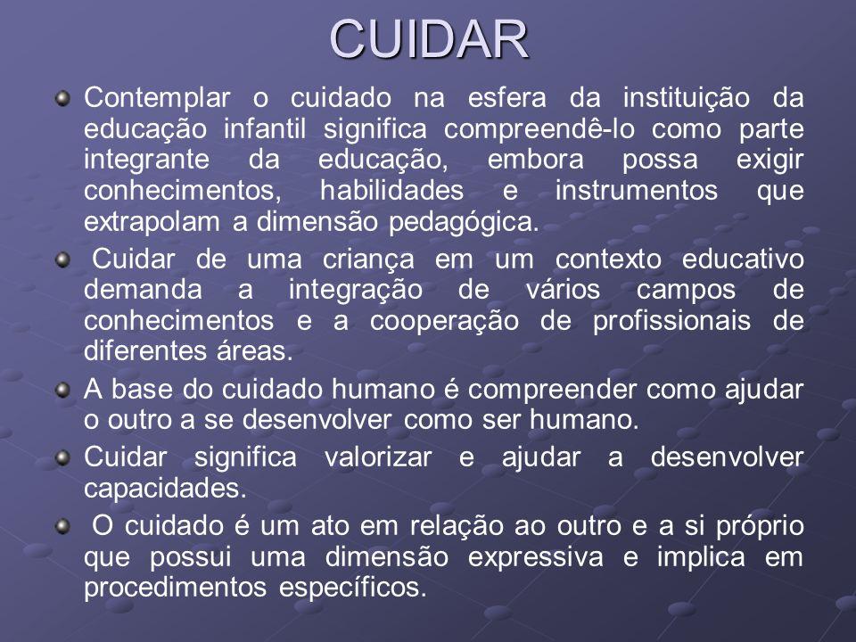 CUIDAR Contemplar o cuidado na esfera da instituição da educação infantil significa compreendê-lo como parte integrante da educação, embora possa exig
