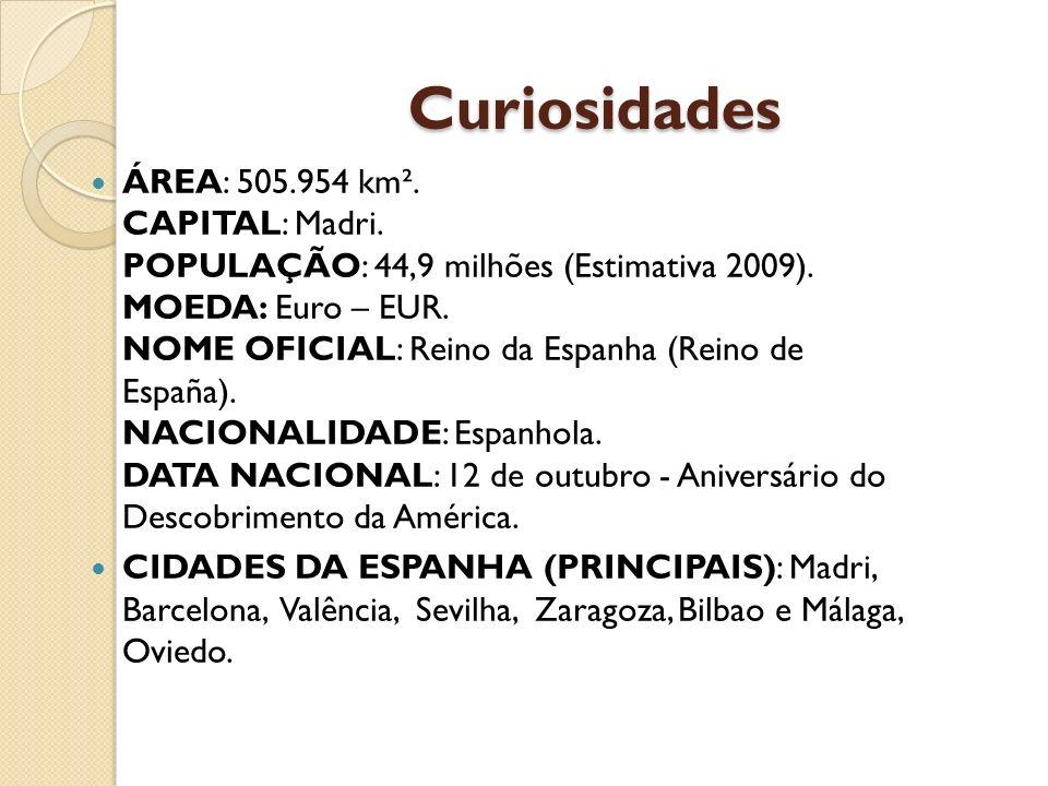 Curiosidades ÁREA: 505.954 km². CAPITAL: Madri. POPULAÇÃO: 44,9 milhões (Estimativa 2009). MOEDA: Euro – EUR. NOME OFICIAL: Reino da Espanha (Reino de