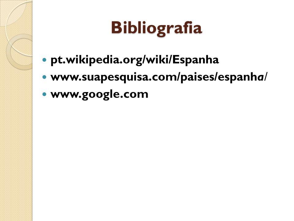 Bibliografia pt.wikipedia.org/wiki/Espanha www.suapesquisa.com/paises/espanha/ www.google.com
