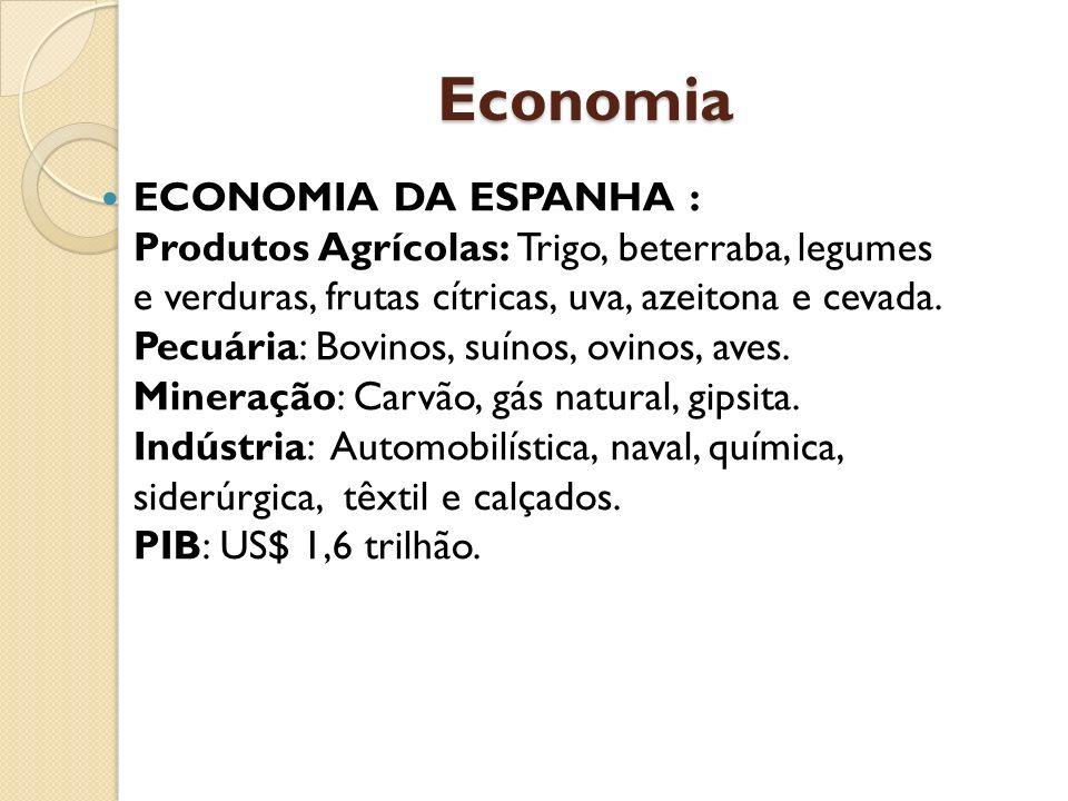 Economia ECONOMIA DA ESPANHA : Produtos Agrícolas: Trigo, beterraba, legumes e verduras, frutas cítricas, uva, azeitona e cevada. Pecuária: Bovinos, s