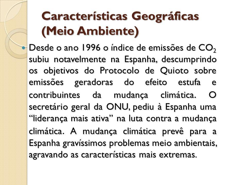 Características Geográficas (Meio Ambiente) Desde o ano 1996 o índice de emissões de CO 2 subiu notavelmente na Espanha, descumprindo os objetivos do