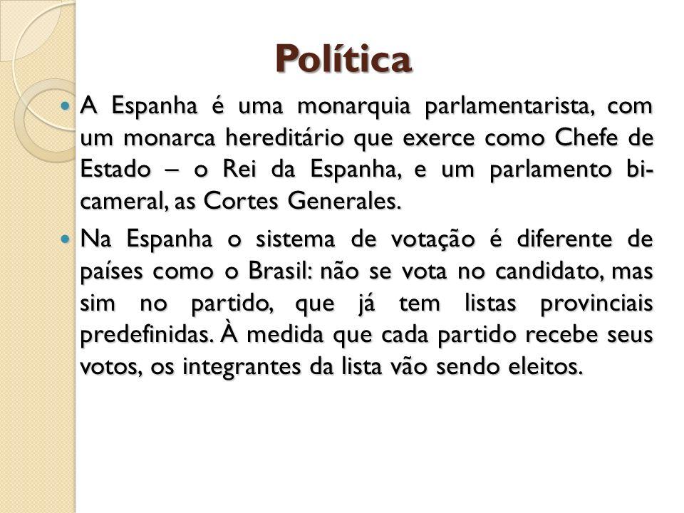 Política A Espanha é uma monarquia parlamentarista, com um monarca hereditário que exerce como Chefe de Estado – o Rei da Espanha, e um parlamento bi-