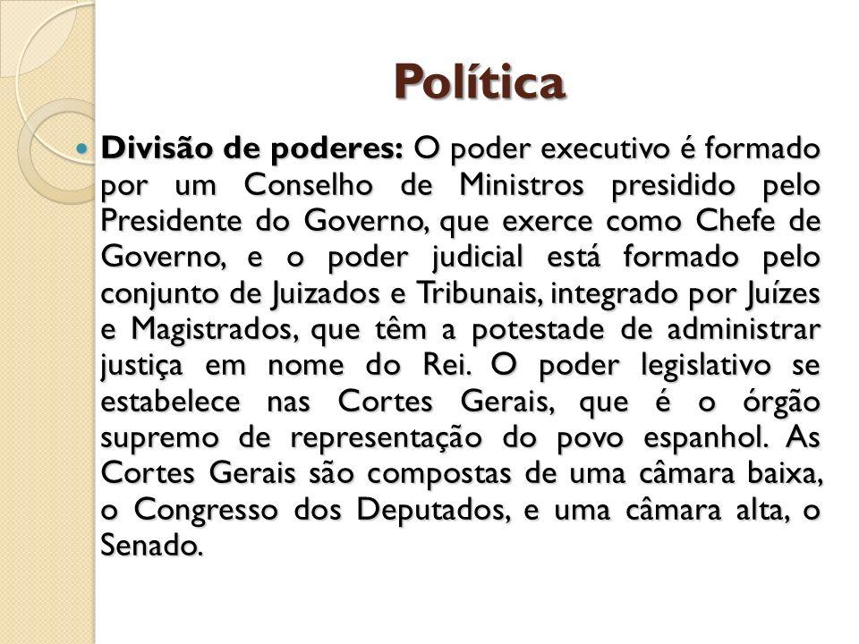 Política Divisão de poderes: O poder executivo é formado por um Conselho de Ministros presidido pelo Presidente do Governo, que exerce como Chefe de G