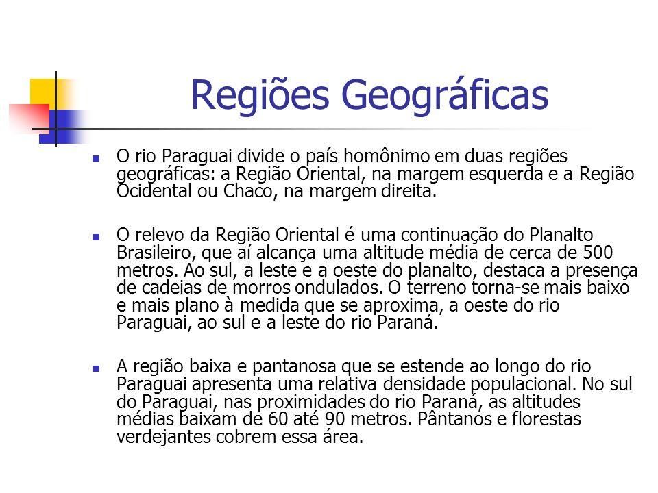 Regiões Geográficas O rio Paraguai divide o país homônimo em duas regiões geográficas: a Região Oriental, na margem esquerda e a Região Ocidental ou Chaco, na margem direita.