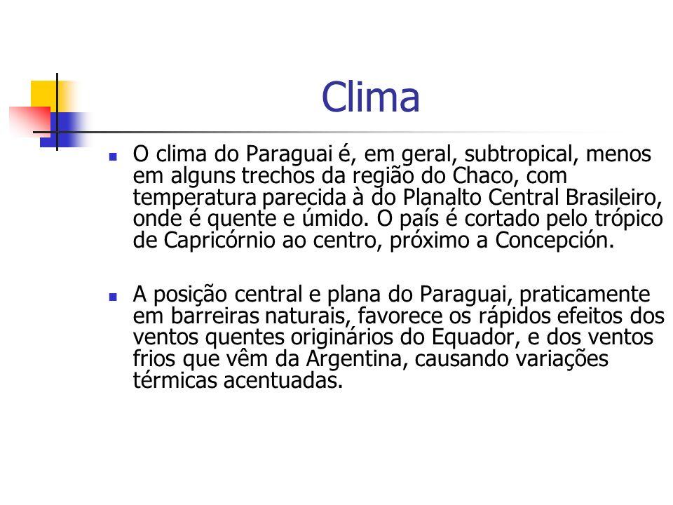 Clima O clima do Paraguai é, em geral, subtropical, menos em alguns trechos da região do Chaco, com temperatura parecida à do Planalto Central Brasile