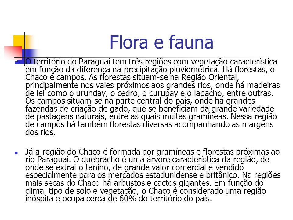 Flora e fauna O território do Paraguai tem três regiões com vegetação característica em função da diferença na precipitação pluviométrica. Há floresta