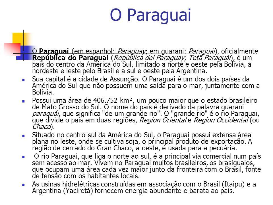 O Paraguai O Paraguai (em espanhol: Paraguay; em guarani: Paraguái), oficialmente República do Paraguai (República del Paraguay; Tetã Paraguái), é um país do centro da América do Sul, limitado a norte e oeste pela Bolívia, a nordeste e leste pelo Brasil e a sul e oeste pela Argentina.