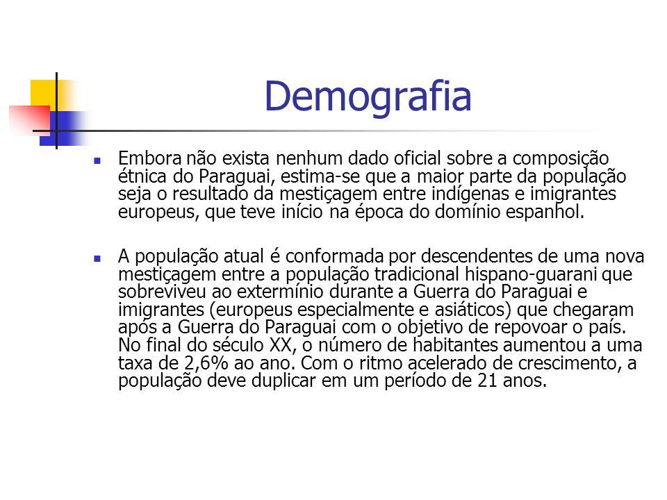 Demografia Embora não exista nenhum dado oficial sobre a composição étnica do Paraguai, estima-se que a maior parte da população seja o resultado da mestiçagem entre indígenas e imigrantes europeus, que teve início na época do domínio espanhol.