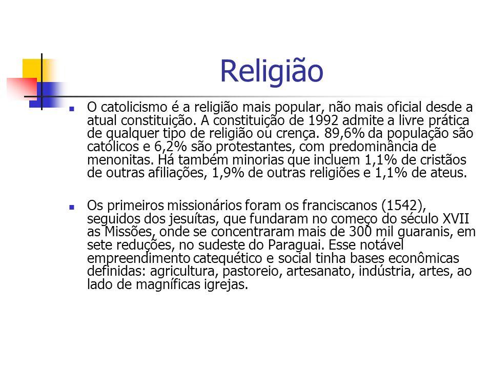 Religião O catolicismo é a religião mais popular, não mais oficial desde a atual constituição.