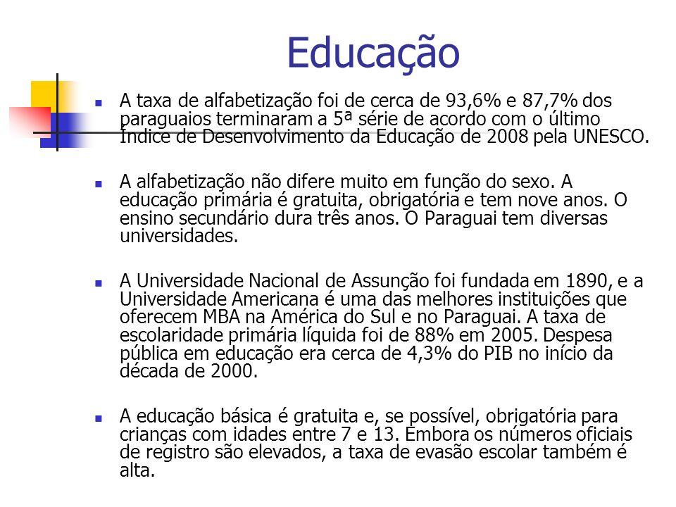 Educação A taxa de alfabetização foi de cerca de 93,6% e 87,7% dos paraguaios terminaram a 5ª série de acordo com o último Índice de Desenvolvimento d