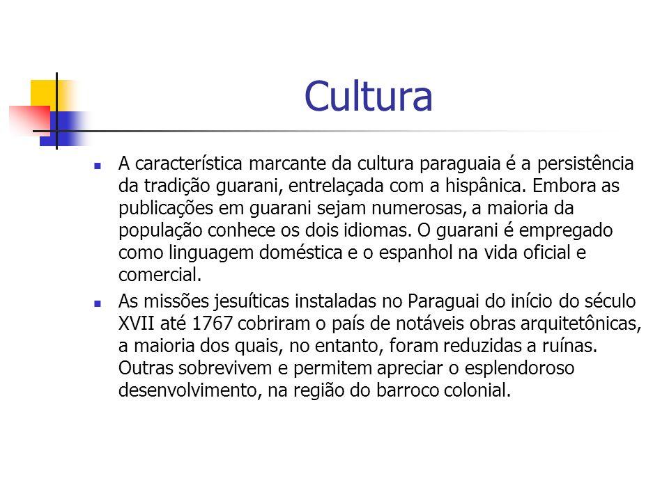 Cultura A característica marcante da cultura paraguaia é a persistência da tradição guarani, entrelaçada com a hispânica. Embora as publicações em gua