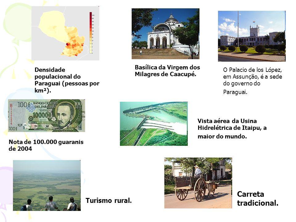 Densidade populacional do Paraguai (pessoas por km²). Basílica da Virgem dos Milagres de Caacupé. O Palacio de los López, em Assunção, é a sede do gov