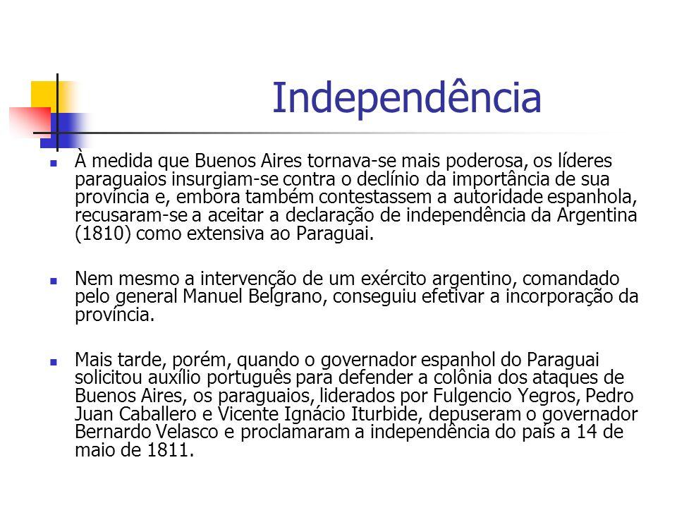 Independência À medida que Buenos Aires tornava-se mais poderosa, os líderes paraguaios insurgiam-se contra o declínio da importância de sua província