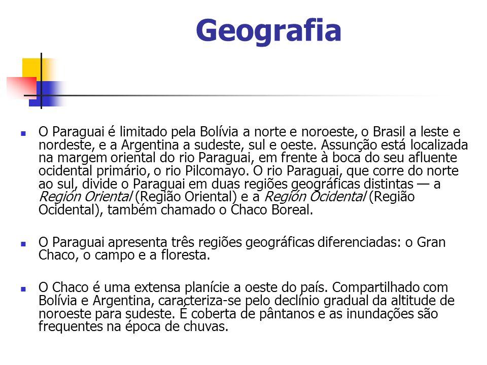 Geografia O Paraguai é limitado pela Bolívia a norte e noroeste, o Brasil a leste e nordeste, e a Argentina a sudeste, sul e oeste.