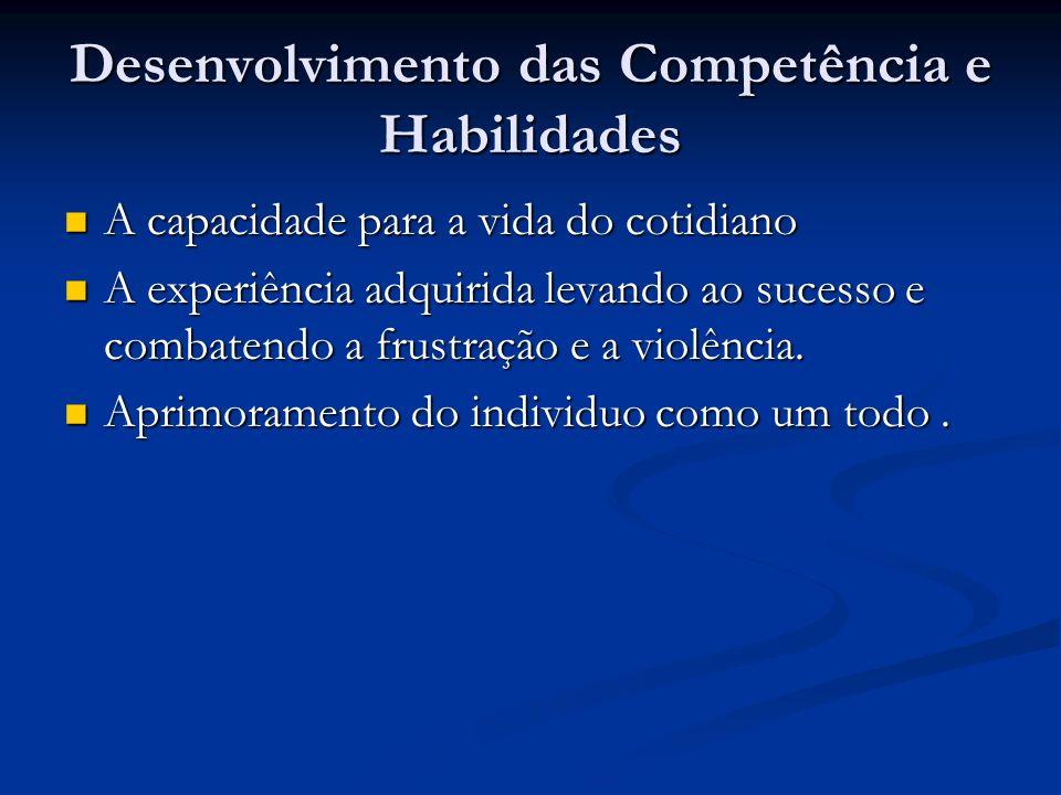 Desenvolvimento das Competência e Habilidades A capacidade para a vida do cotidiano A capacidade para a vida do cotidiano A experiência adquirida leva