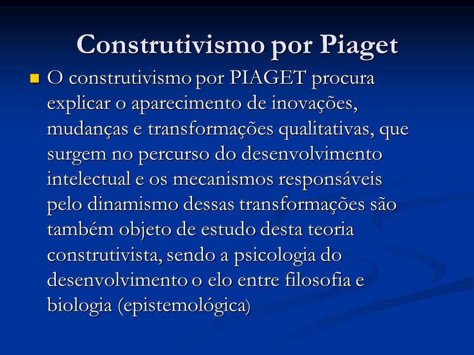Construtivismo por Piaget O construtivismo por PIAGET procura explicar o aparecimento de inovações, mudanças e transformações qualitativas, que surgem