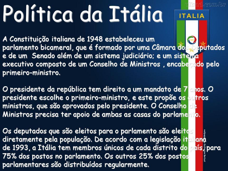 RELEVOPolítica da Itália A Constituição italiana de 1948 estabeleceu um parlamento bicameral, que é formado por uma Câmara dos Deputados e de um Senad