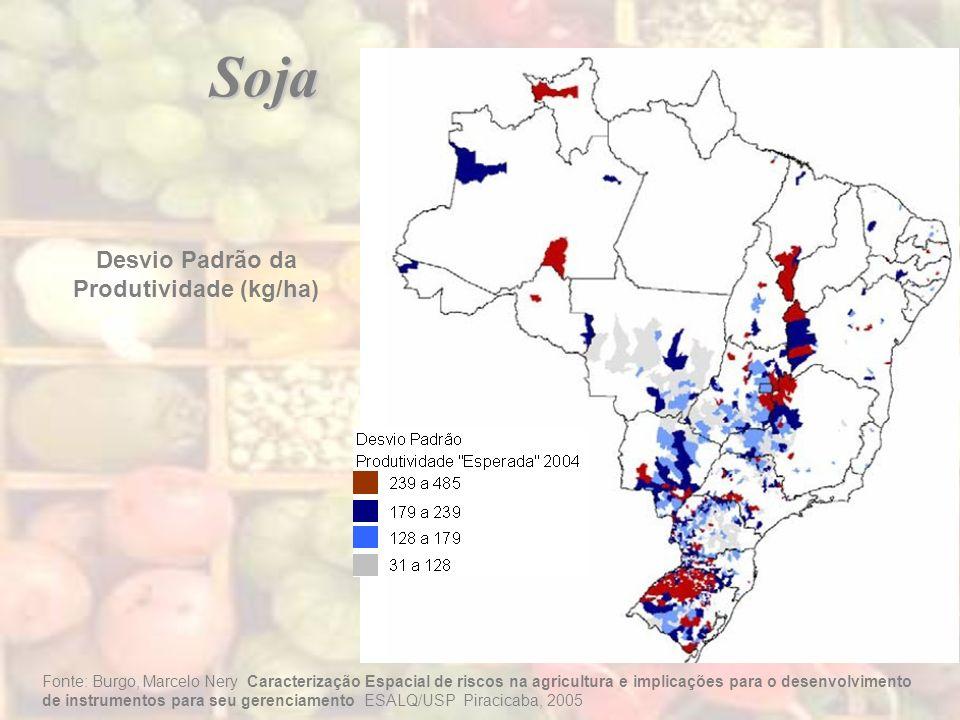 Desvio Padrão da Produtividade (kg/ha) Fonte: Burgo, Marcelo Nery Caracterização Espacial de riscos na agricultura e implicações para o desenvolviment