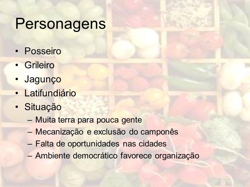 Personagens Posseiro Grileiro Jagunço Latifundiário Situação –Muita terra para pouca gente –Mecanização e exclusão do camponês –Falta de oportunidades