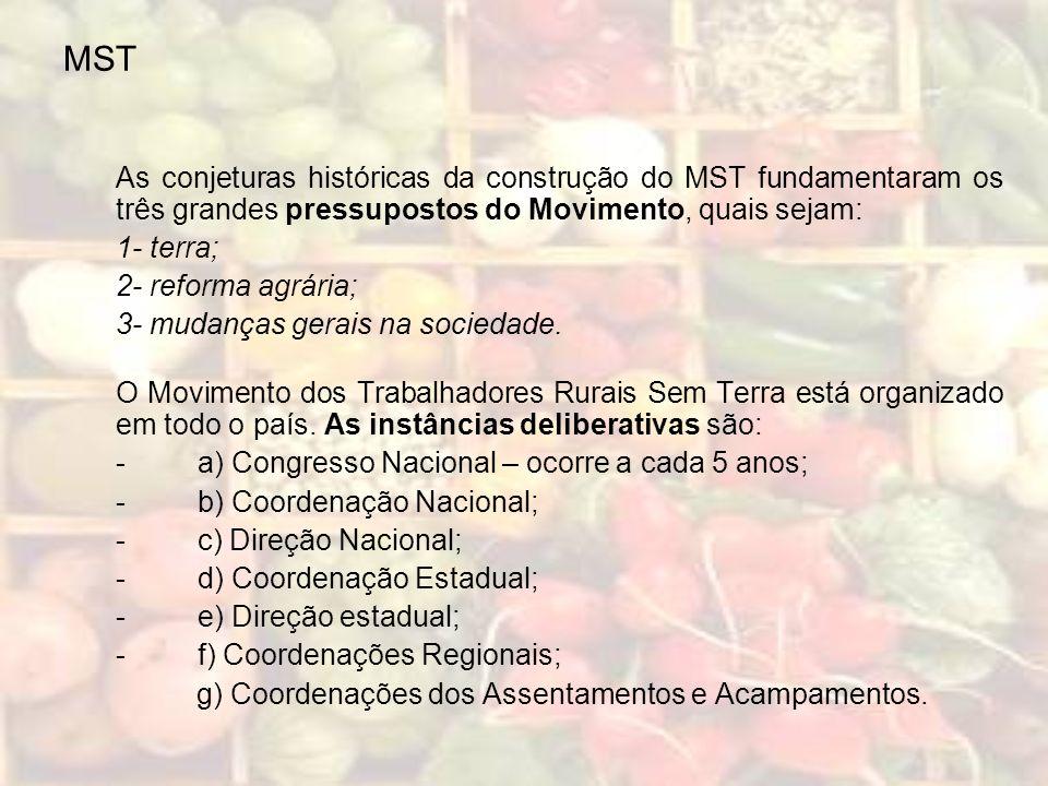 MST As conjeturas históricas da construção do MST fundamentaram os três grandes pressupostos do Movimento, quais sejam: 1- terra; 2- reforma agrária;