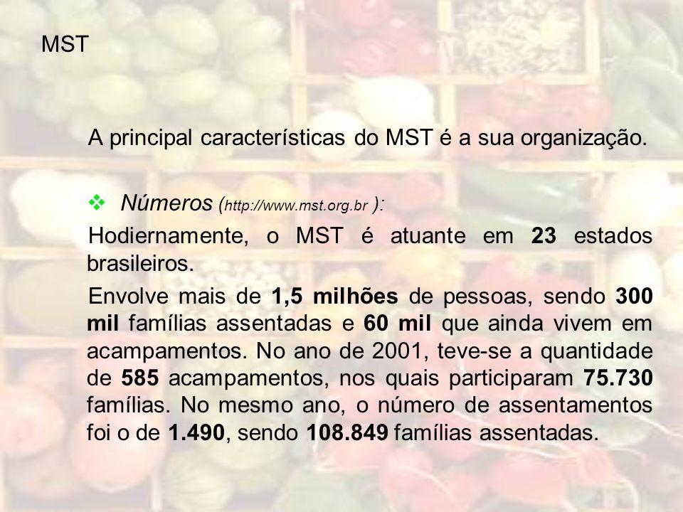 MST A principal características do MST é a sua organização. Números ( http://www.mst.org.br ): Hodiernamente, o MST é atuante em 23 estados brasileiro