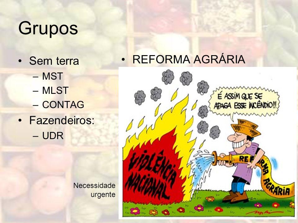 Grupos Sem terra –MST –MLST –CONTAG Fazendeiros: –UDR REFORMA AGRÁRIA Necessidade urgente