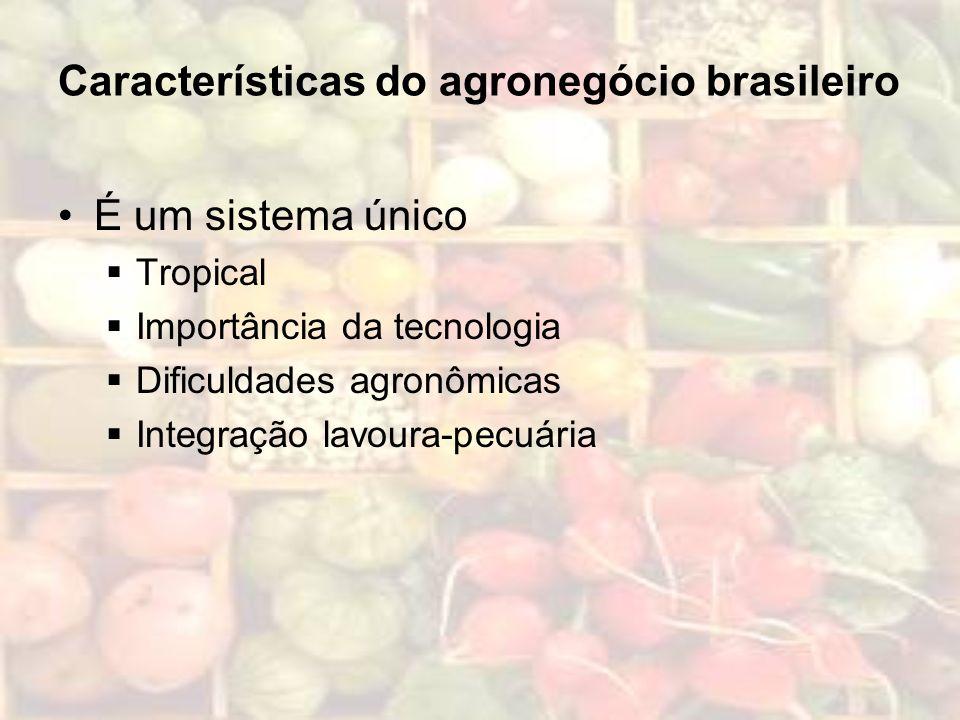 Características do agronegócio brasileiro É um sistema único Tropical Importância da tecnologia Dificuldades agronômicas Integração lavoura-pecuária
