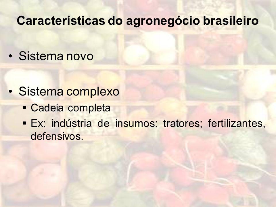 Características do agronegócio brasileiro Sistema novo Sistema complexo Cadeia completa Ex: indústria de insumos: tratores; fertilizantes, defensivos.
