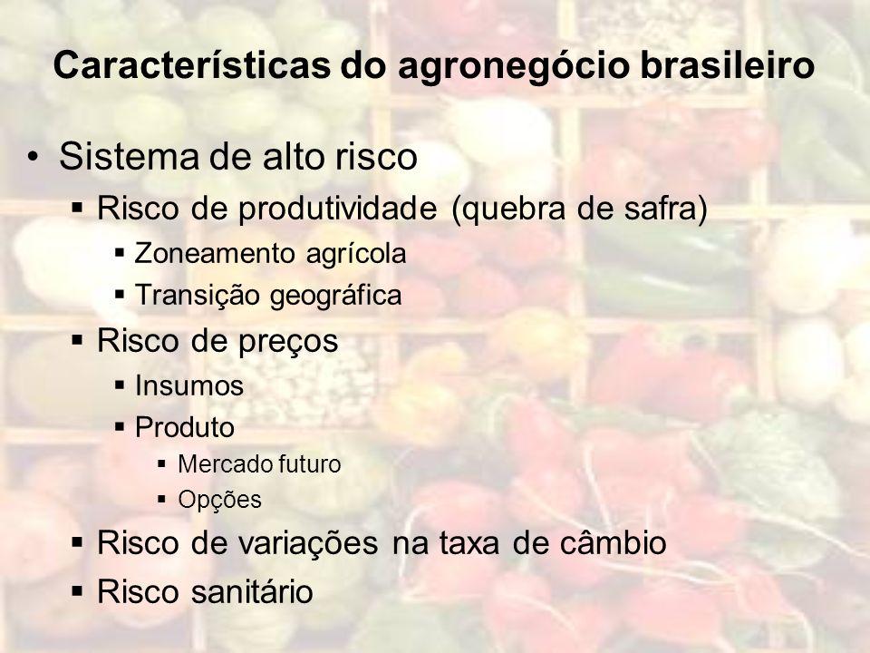 Características do agronegócio brasileiro Sistema de alto risco Risco de produtividade (quebra de safra) Zoneamento agrícola Transição geográfica Risc