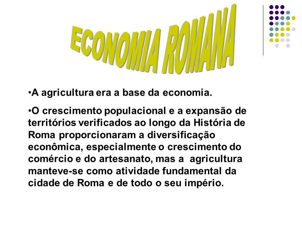 A agricultura era a base da economia. O crescimento populacional e a expansão de territórios verificados ao longo da História de Roma proporcionaram a
