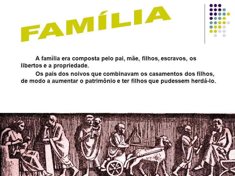 A família era composta pelo pai, mãe, filhos, escravos, os libertos e a propriedade. Os pais dos noivos que combinavam os casamentos dos filhos, de mo