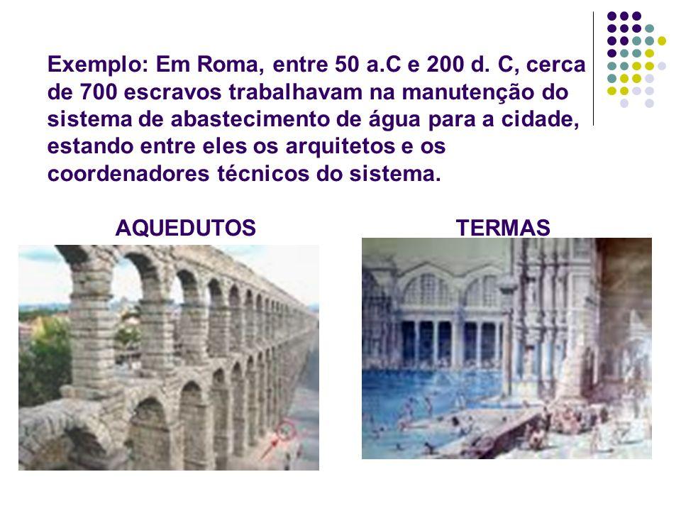 Exemplo: Em Roma, entre 50 a.C e 200 d. C, cerca de 700 escravos trabalhavam na manutenção do sistema de abastecimento de água para a cidade, estando
