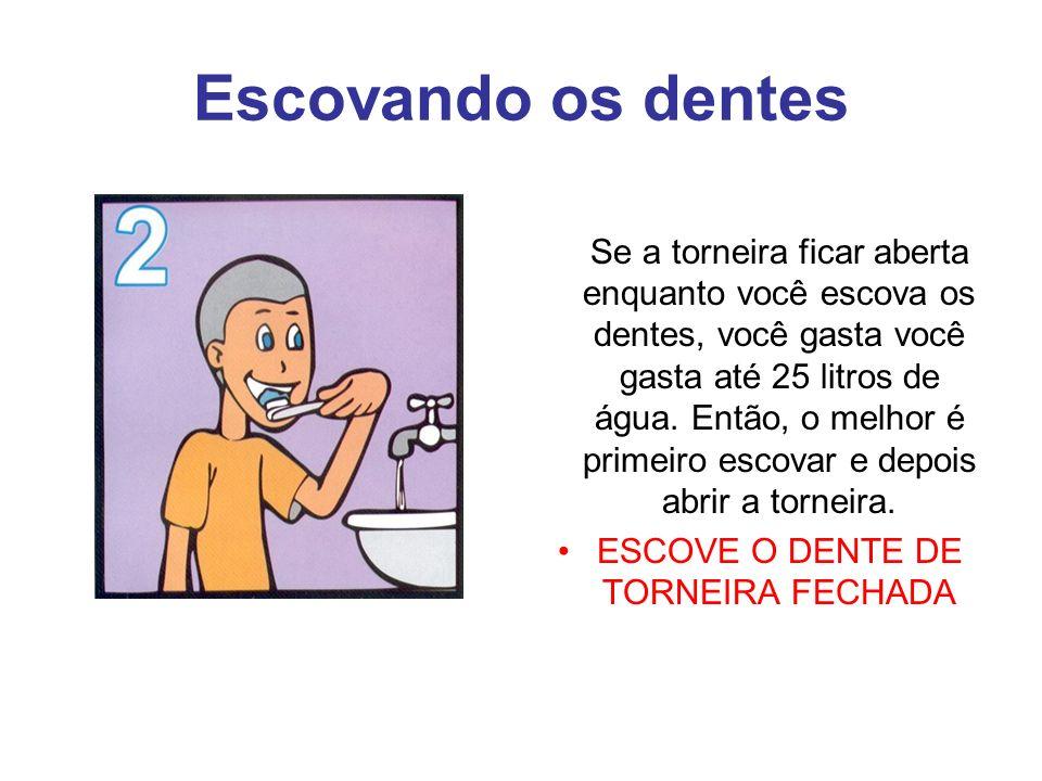 Escovando os dentes Se a torneira ficar aberta enquanto você escova os dentes, você gasta você gasta até 25 litros de água.