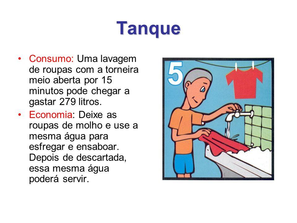 Tanque Consumo: Uma lavagem de roupas com a torneira meio aberta por 15 minutos pode chegar a gastar 279 litros.