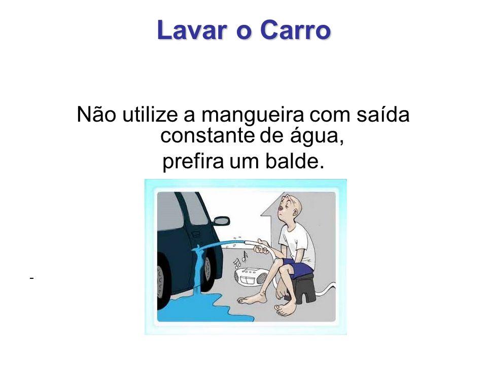 Lavar o Carro Não utilize a mangueira com saída constante de água, prefira um balde. -