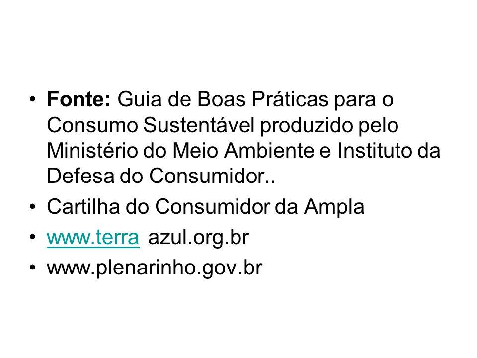 Fonte: Guia de Boas Práticas para o Consumo Sustentável produzido pelo Ministério do Meio Ambiente e Instituto da Defesa do Consumidor..