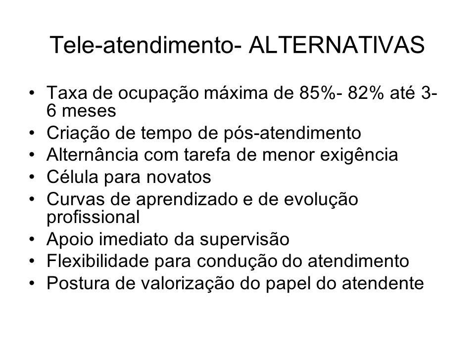 Tele-atendimento- ALTERNATIVAS Taxa de ocupação máxima de 85%- 82% até 3- 6 meses Criação de tempo de pós-atendimento Alternância com tarefa de menor