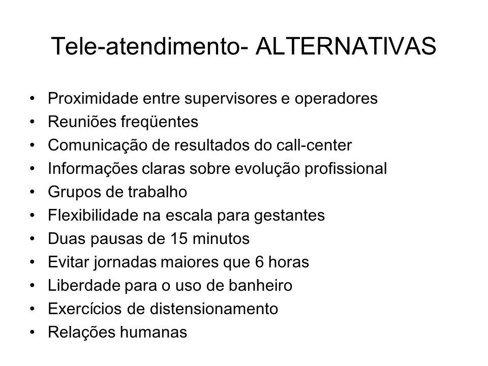 Tele-atendimento- ALTERNATIVAS Proximidade entre supervisores e operadores Reuniões freqüentes Comunicação de resultados do call-center Informações cl