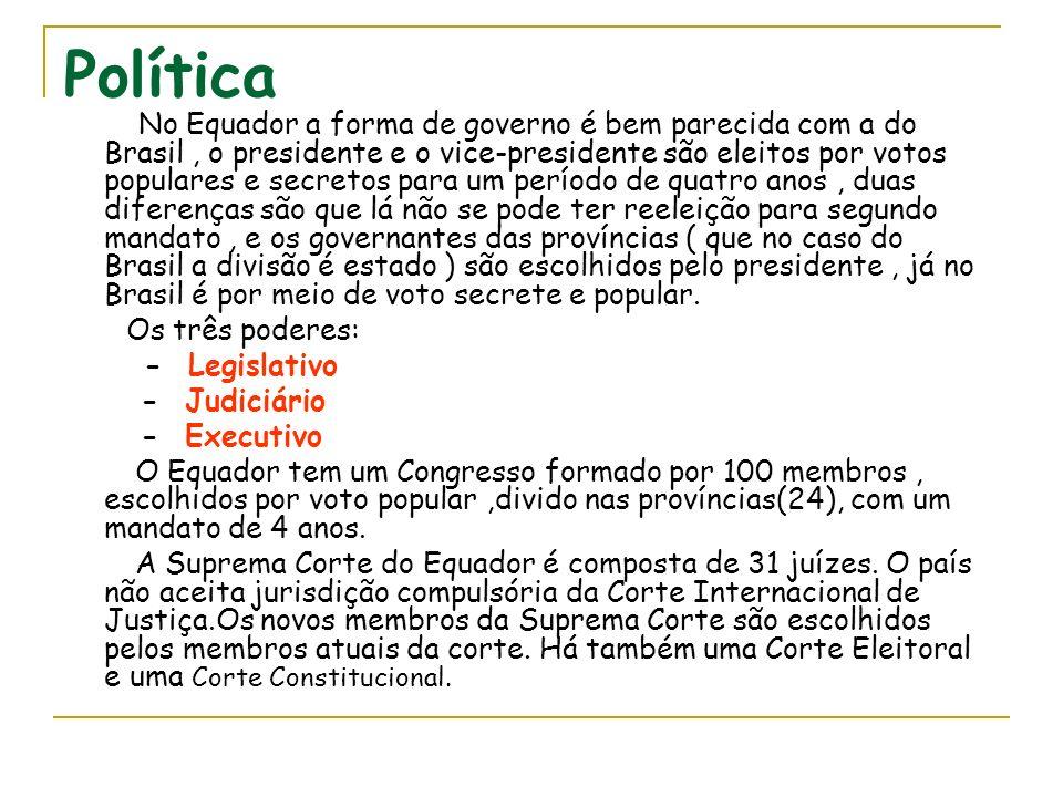 Política No Equador a forma de governo é bem parecida com a do Brasil, o presidente e o vice-presidente são eleitos por votos populares e secretos par