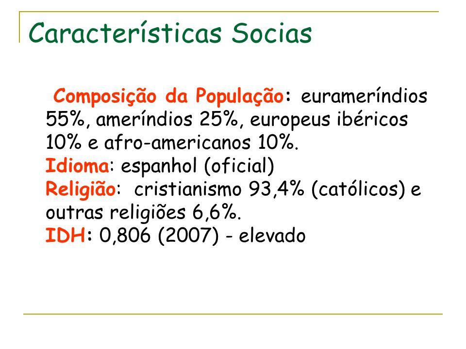 Características Socias Composição da População: eurameríndios 55%, ameríndios 25%, europeus ibéricos 10% e afro-americanos 10%. Idioma: espanhol (ofic