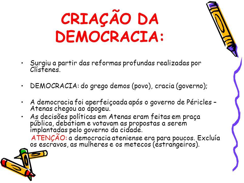 CRIAÇÃO DA DEMOCRACIA: Surgiu a partir das reformas profundas realizadas por Clístenes. DEMOCRACIA: do grego demos (povo), cracia (governo); A democra
